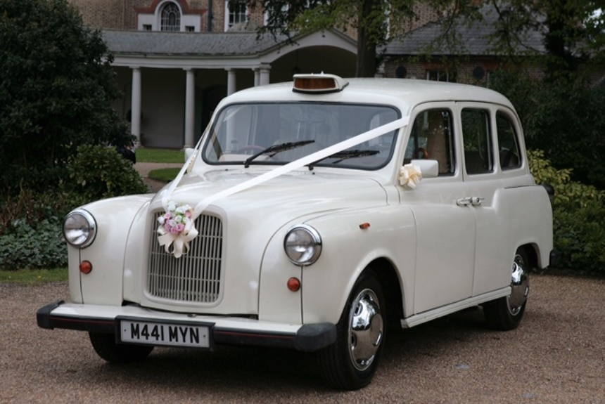 London Taxi Classic White London Taxi For Weddings In London